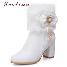 купить Meotina Autumn Ankle Boots Women Pearl Fur Thick High Heel Short Boots Bow Zipper Pointed Toe Shoes Lady Winter Large Size 33-46 дешево