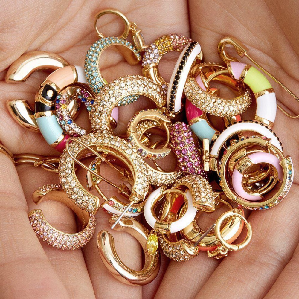 Fahshion Round Gold Small Stud Earring for Women Brincos Colorful CZ Copper Earring Indian Bridal Party Statement INS Jewelry