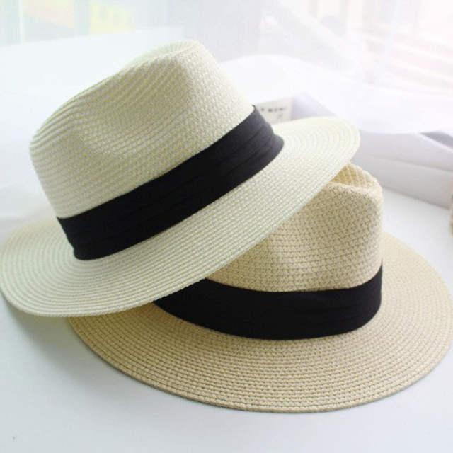 Verão Palha Praia Chapéus de Sol Mulheres Praia Chapéus De Aba Larga Floppy Chapéu  Panamá, 280ee0d8dd