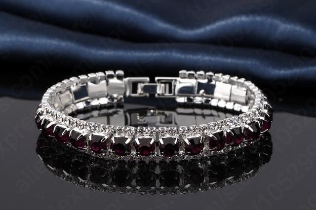 JEXXI Vintage Female Rhinestone Bangles& Bracelet 925 Sterling Silver Cubic Zircon Wedding Engagement Jewelry