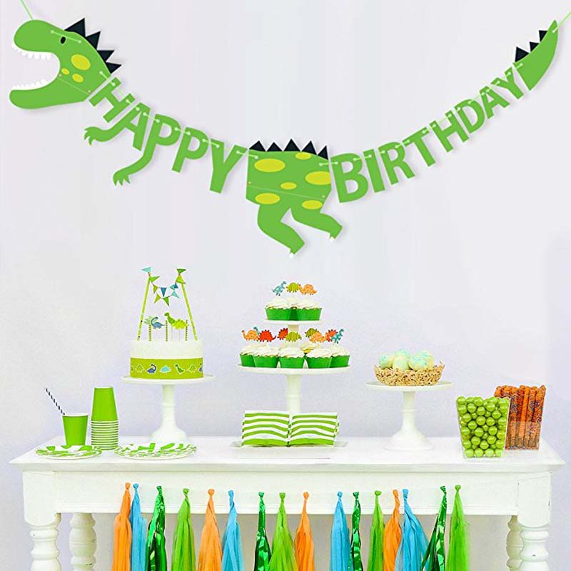 Happy Birthday Banner for kid boy girl first 1st one 2th 3th 4th 5th 6th 7th 8th 9th 10th Jungle animal theme Party Decoration hearth