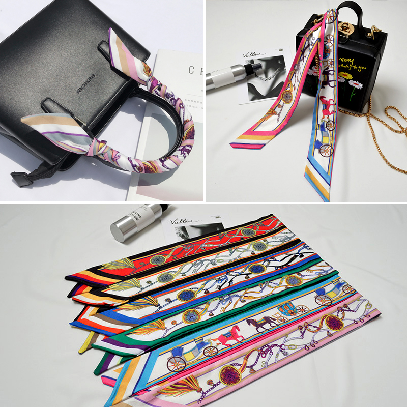 Brand Design Summer woman twill silk scarfs chain printed Bag Ribbons Female Headwear Handbag Small Long neck Scarf Wraps gift in Women 39 s Scarves from Apparel Accessories