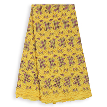 2019 Latest Yellow Polished Cotton Swiss Voile Fabric Women Dress Sewing African DIY 5Yard Lace Embroidedry Nigerian