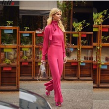 High-neck long-sleeved jumpsuit fashion casual star style unique design free shipping Custom  high street womens