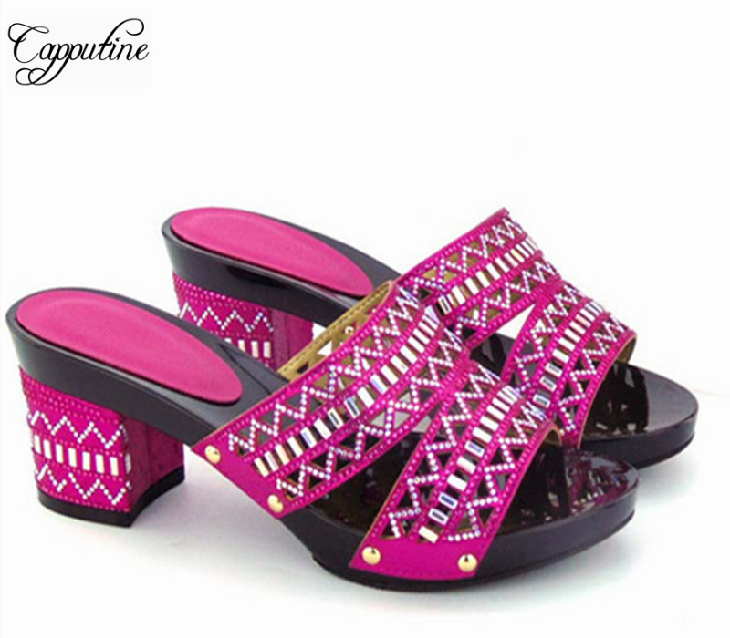 Capputine Hot Selling African Sandal Shoes Italian Crystal Middle Heels Woman Pumps For Party Wholesale On Sale Free Shipping