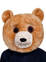 Teddy bear smiling face mascot adult costume clothing spending big head animal masks