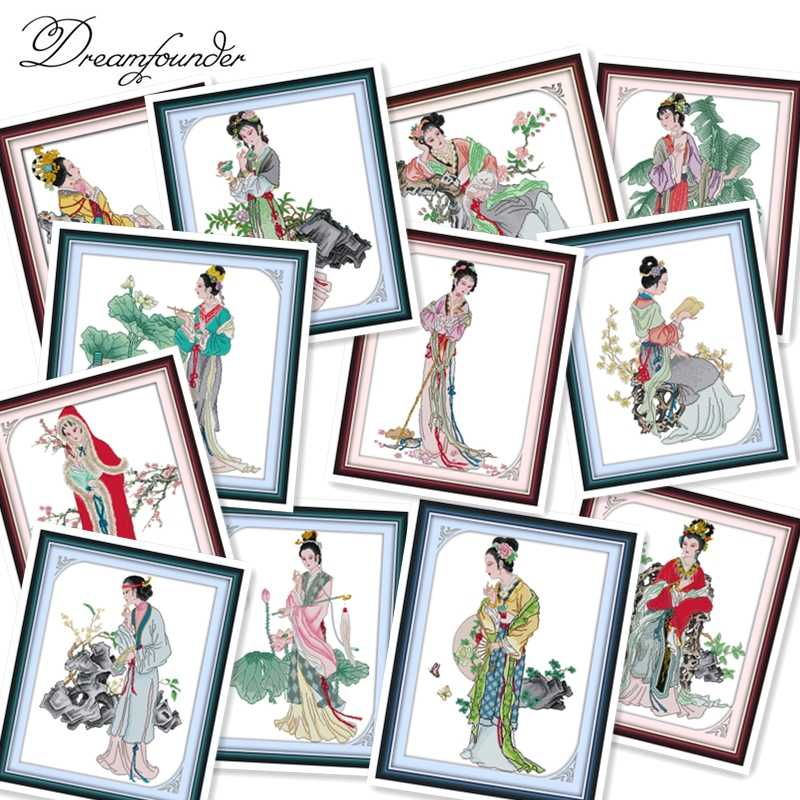 Jinling twelve hairpin cross stitch kit aida 14ct 11ct count printed canvas stitches embroidery DIY handmade needlework