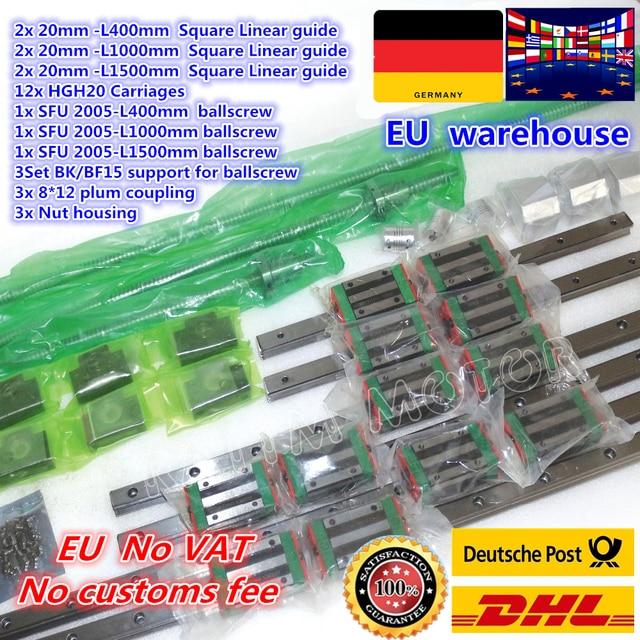 3set kare lineer kılavuz L 400/1000/1500mm ve 3 adet vidalı SFU2005 400/1000/1500mm somun ile ve 3set BK/B12 ve kaplin CNC