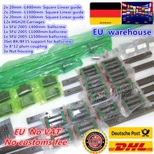 3sets Platz Linear guide L 400/1000/1500mm & 3 stücke Kugelumlaufspindel SFU2005 400/1000/1500mm mit Mutter & 3set BK/B12 & Kupplung für CNC
