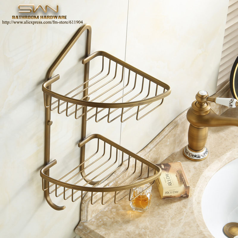 Antique Brass Bathroom Wire Corner Basket Shelf Double Layer With Two Hooks 3C11821 antique double brass bathroom shelf with green stone towel holder bathroom shelf with hooks basket for bathroom holder ssl s49