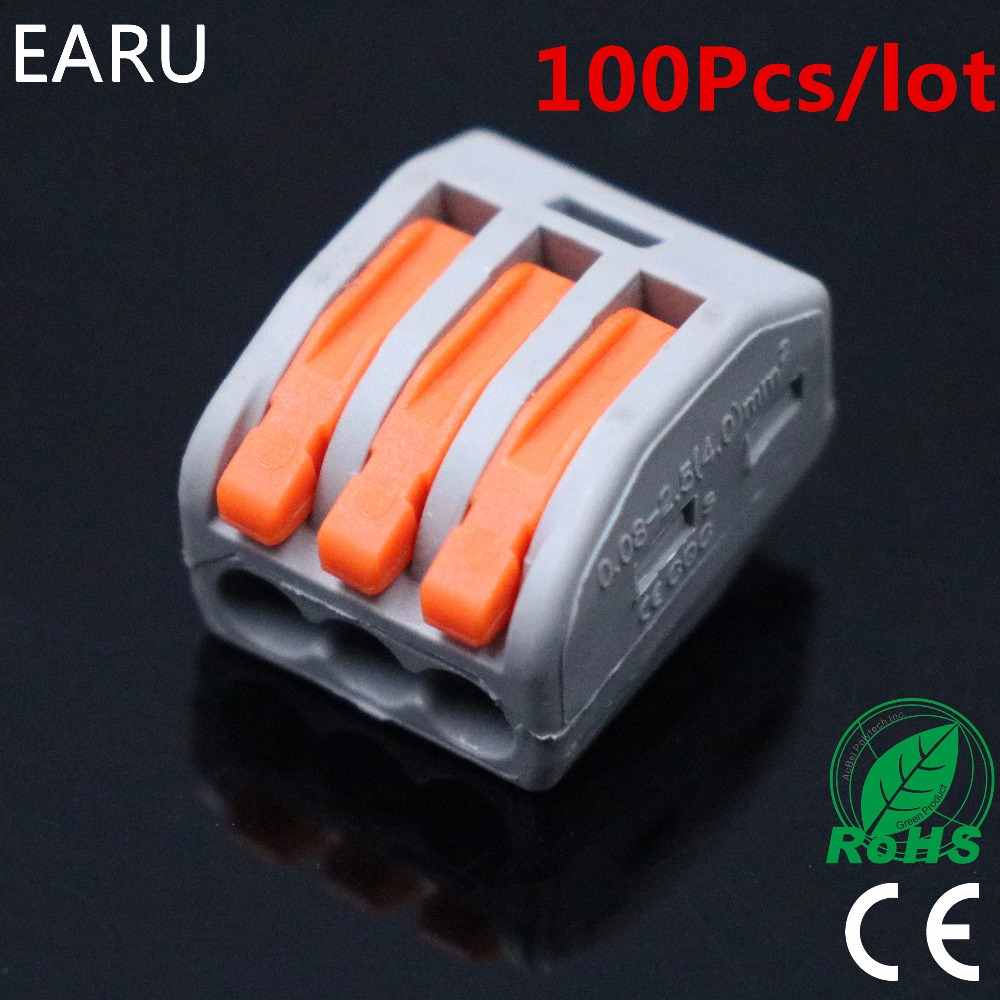 (100Pcs/lot) PCT-213 PCT213 222-413 Universal Compact Wire Wiring Connectors 3 Pin Conductor Terminal Block Lever AWG 28-12