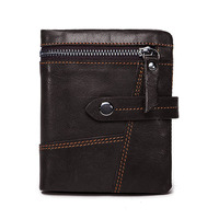 First layer Cowhide Vintage Locomotive Men Wallets Stitching Genuine Leather Multi layered Wallet Cowhide Zip Coin Purse