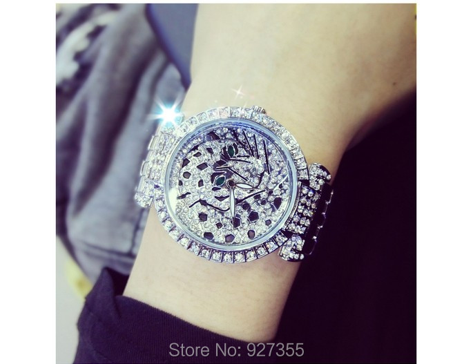Luxury Women Rhinestone Watches Lady Diamond Dress Watch Stainless Steel Band Leopard Bracelet Wristwatch ladies Crystal Watch 1