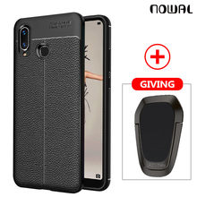 NOWAL Litchi Silicon Case For Huawei P20 Lite Mate20 Pro Y9 2019 Y5 Y6 Y7 2018 P Smart Honor 6X 8X 7A 8 9 10 Car Ring Stand Case(China)