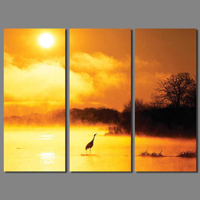 Landscape lake mountain bird decoration sun gold sky wall art ...