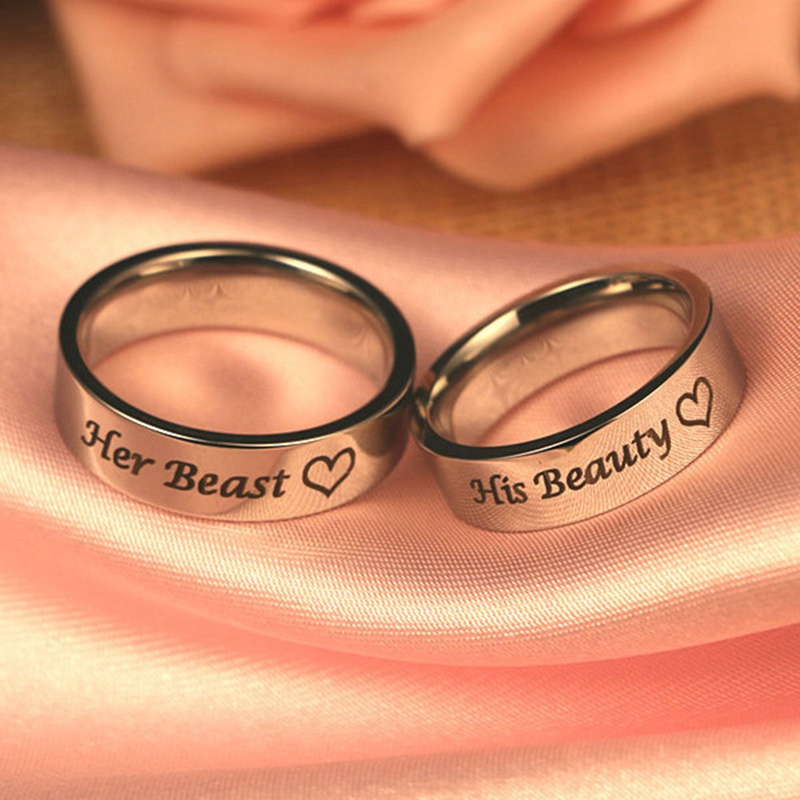 1 pcs Stainless Steel Rings Couple Rings Wedding Jewelry For Lovers Her Beast His Beauty Ring Engagement Promise Jewelry