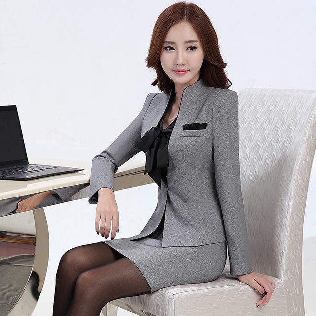 2016 desgaste do Trabalho das mulheres da forma roupas slim-manga longa blazer com calças escritório senhoras calças formais terno mais tamanho jaqueta definir