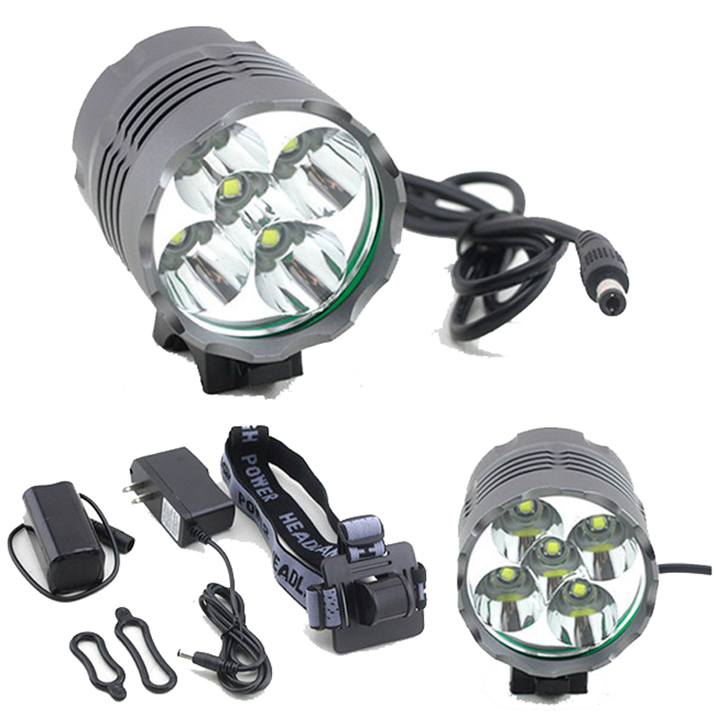 <font><b>7000</b></font> <font><b>Lumen</b></font> Cycling Helmet Bike <font><b>Light</b></font> 5x Cree XM-L T6 Led <font><b>Bicycle</b></font> Headlamp Bike Head <font><b>Light</b></font> + 8.4V 18650 Battery Pack + Charger image