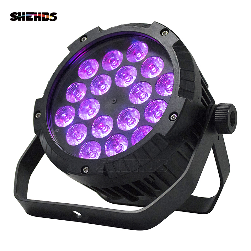 4pcs Waterproof LED Flat Par 18x12W RGBW DMX512 Stage Effect Lighting Good For Outdoor Swimming Pool DJ Disco Party Dance Floor