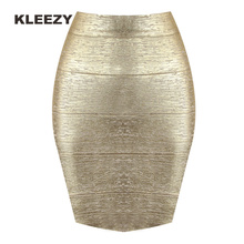 KLEEZY new arrival 2018 pencil skirt New Bandage Women gold silver mini  Skirts H001(China) 15fb1728750c