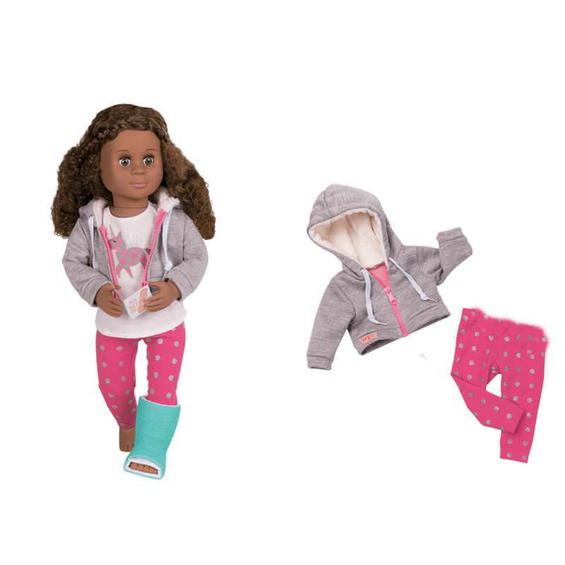 ملابس دمية تناسب 18 بوصة دمية 43 سنتيمتر ملابس دمية طفل البقاء في المنزل الزي الطبي هودي معطف مع السراويل ل 46 سنتيمتر دمية