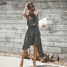 купить Summer Large Size Dot Asymmetrical Casual Dress Women Sleeveless Halter Long Ruffles Dress Plus Size Loose Sling Sundress дешево