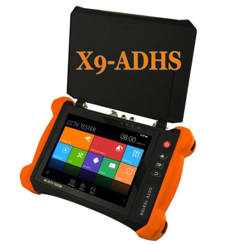 2018 Newest CCTV Tester Monitors X9 8 inch H.265 4K IP Camera Tester 8MP TVI CVI 5MP AHD SDI CVBS Camera Tester with Cable trace