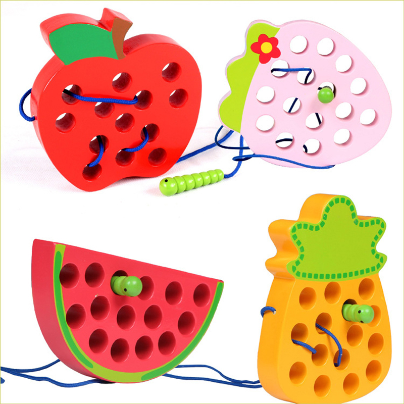 Early Learning Teaching Aid Baby Toy Worm Eat Fruit Apple Pear Baby Montessori Infant Baby 3D Fun Wooden Puzzle Toy For Kids