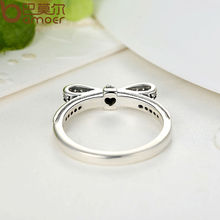 Sterling Silver Sparkling Bow Knot Stackable Ring Micro Pave CZ for Women Valentine's Day Gift Jewelry PA7104