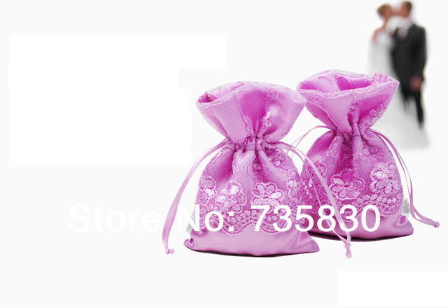 Original design purple violet satin lace bag wedding candy bag coin
