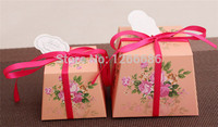 3000pcs/lot 5 style Floral Flower Trapezoid Wedding Favor Candy Boxes