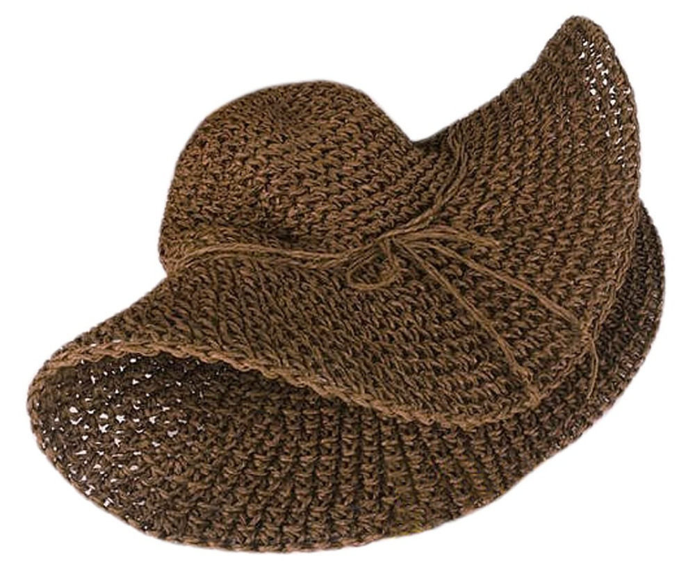 Women Ladies Wide Brim Roll up Crocheted Hats Bohemia Straw Sun Hat ...