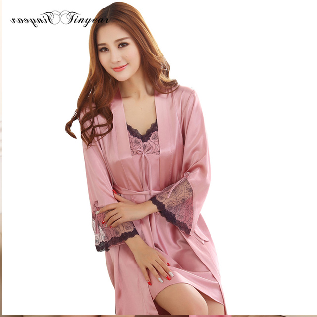 2016 Very hot women gown robe sets breathable natural color silk robe full sleeve conjuntos de pijamas para mujeres with bow
