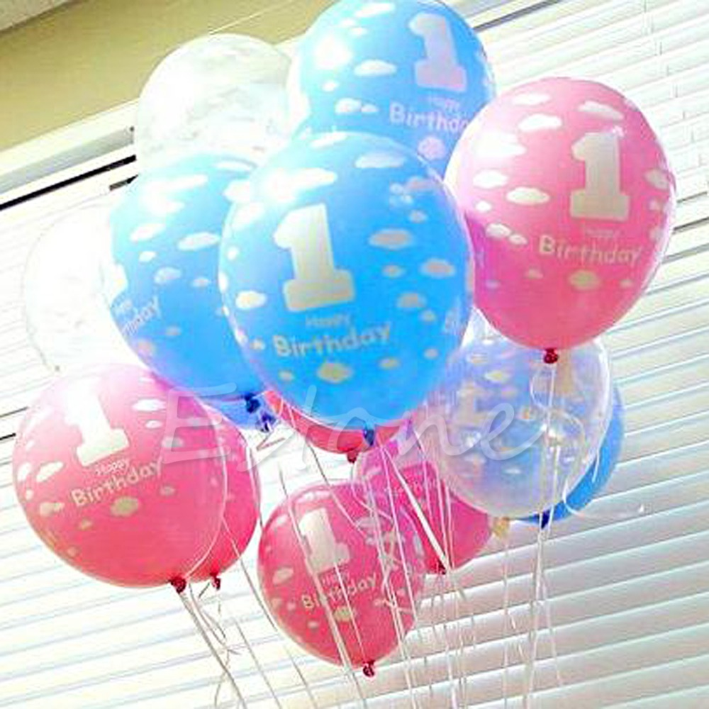 100 x Baby 1st Birthday Balloon Party Decor Girl Boy Printed Number 1 Ballons Ki