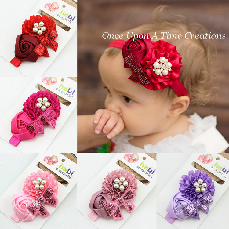 New 2016 hot sale fashion girl flower red with alloy button headband new born baby head band kids hair accessories