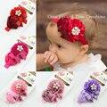 Nuevo 2016 de la venta caliente chica de moda flor roja con botón de aleación de banda para la cabeza diadema bebé recién nacido niños accesorios para el cabello