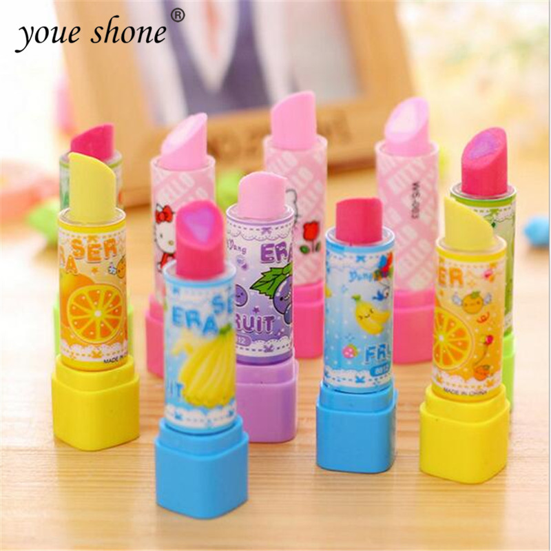 1PCS Lipstick Styling Pencils Eraser  Stationery  Cartoon Fruit Rubber Erasers For Student  Learning Supplies