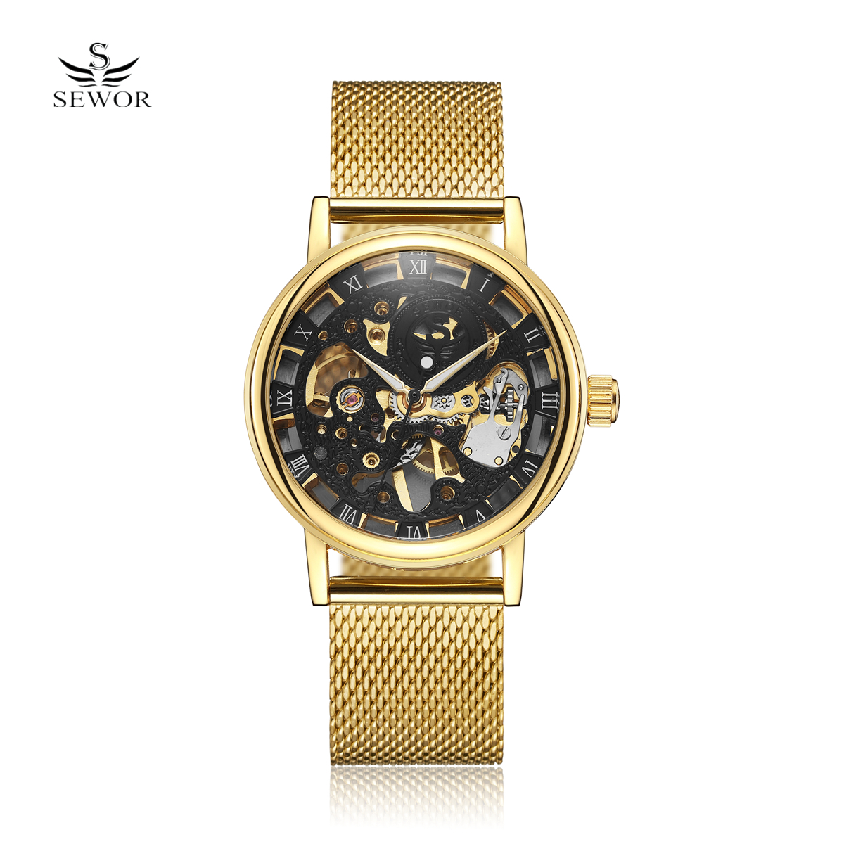 SEWOR Coupons Sale Men Watches Mechanical Hand Wind Luxury Top Brand Skeleton Stainless Steel Bracelet Mesh Strap Men's Watches