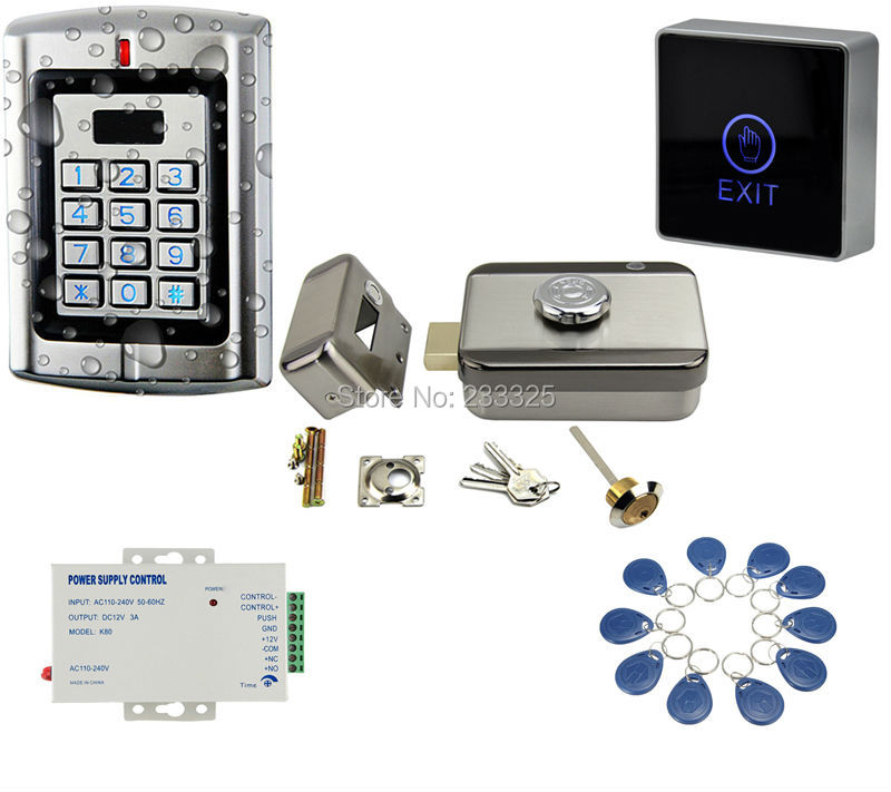 Waterproof Metal Case RFID keypad Touch Button 125KHz RFID Metal Keypad Access Control System Kit with 20tags metal rfid em card reader ip68 waterproof metal standalone door lock access control system with keypad 2000 card users capacity