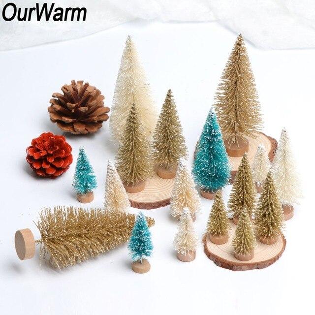 Ourwarm 8pcs Sisal Fiber Mini Christmas Tree 3colors Snow Frost