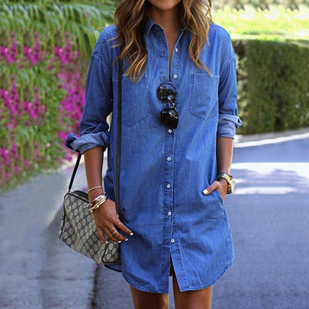 2018 Printemps Automne Femme Denim Chemise Mode À Manches Longues Casual Denim Blouse Tops Shirt avec Poches Blusa Jeans Feminina
