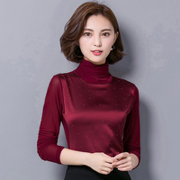 New Korean Slim Was Thin High Collar Yarn Female Long Sleeved Diamond Bottoming Shirt Bottom Shirt