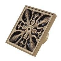 Retro Floor Drain Luxury carved antique brass floor drain floor drain odor pest 10x10cm