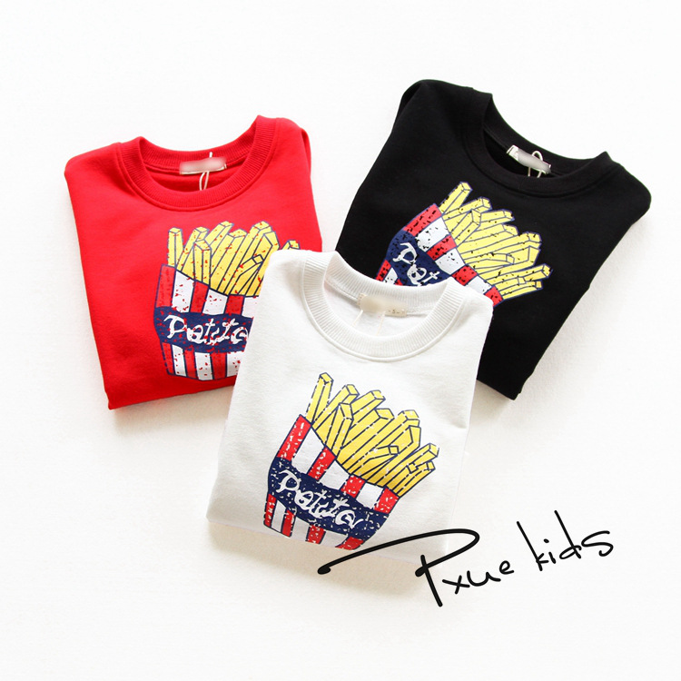 New arrive kids fashion Cartoon fries printed hoodies boys girls Spring Autumn thin sweatshirts jogger sportwear 2-7Years