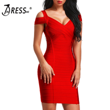INDRESSME 2018 Women Bandage Dress New Fashion Elegant Off Shoulder Cross Backless Sexy Party Dress Lady