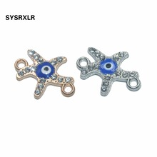 10 PCS Rose Gold/Sliver Starfish Evil Blue Eye Connectors for Jewelry Making Earrings Accessories Findings DIY Bracelet Necklace