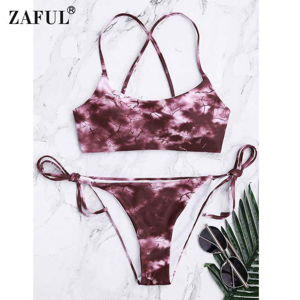 eb989ad626 ZAFUL Tie Dye Criss Cross Tied Bikini Set Women Summer Beachwear Sexy Thong  Low Waist Cross Spa Bathing Suits Swimsuits-in Bikinis Set from Sports ...