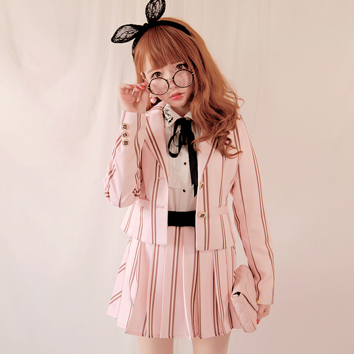 Princess Sweet Lolita Blazer Bobon21 Original Design Vintage England Student College Style Vertical Stripes Coat C1177