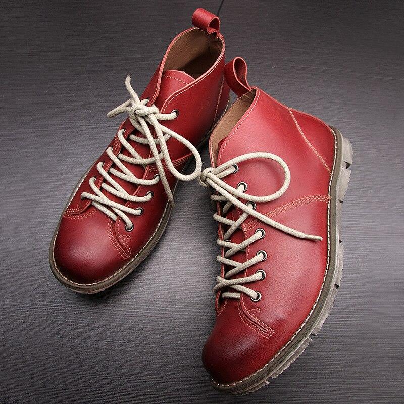 Montaria vermelho Genuíno Botas Outono Couro Chealsea Militares Marca marrom Retro Mens Homens De Britânico Sapatos Do Preto Inverno 5nnqxTp