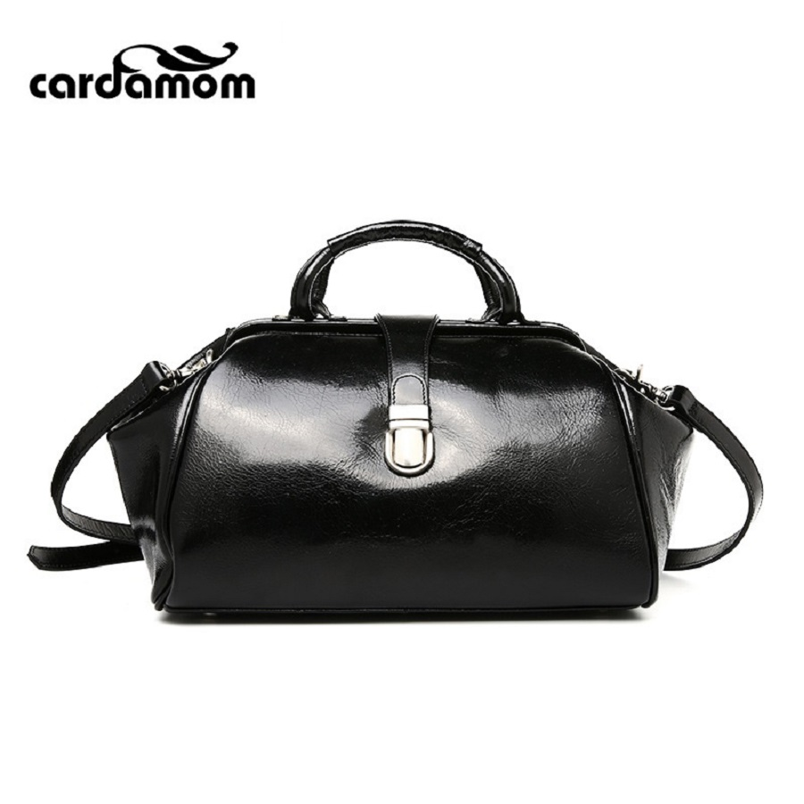 Cardamom New Oil Wax Vintage Handbags Retro Genuine Leather Doctor Totes Women Bags Fashion Lady Shoulder Messenger Bag